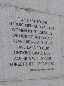 Picture of a Harry Truman quote on a war memorial